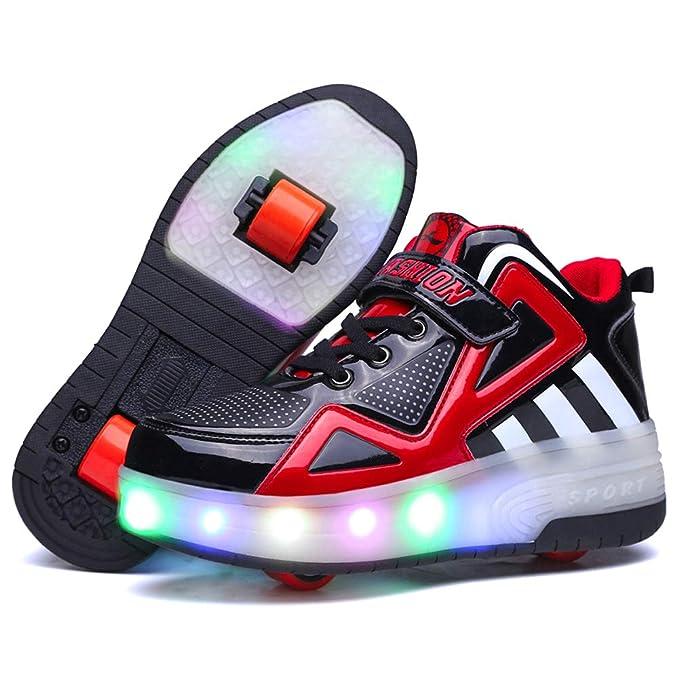 Charmstep Unisex Mujeres Led Luz de Zapatillas Skate con 2 Ruedas Zapatos Patines Deportes Zapatos para Niños Niñas: Amazon.es: Ropa y accesorios