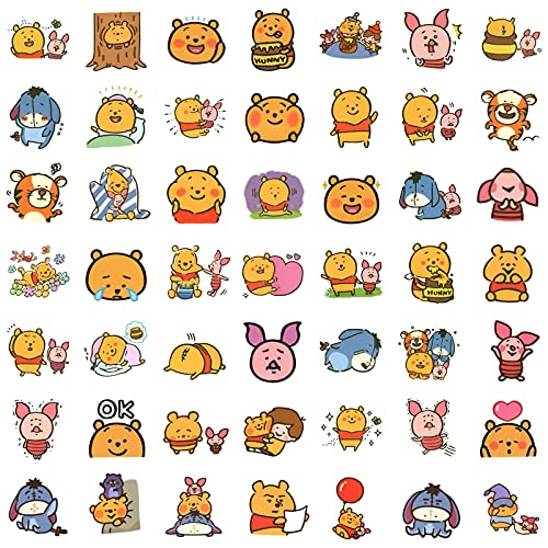 100pcs Winnie The Pooh Stickers Pack, Cute Cartoon Stickers for Laptop, Water Bottles, Waterproof Pooh Bear Animal Stickers Decals for Tenns, Kids, Adults