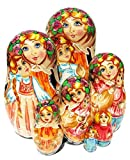 Mother 7-Piece Russian Nesting Doll Babushka Mom and Children Kids Family Stacking Doll
