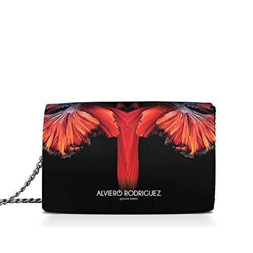 03a5837011 Alviero Rodriguez Borsa Donna Pesci Rossi Coda Red Fish in Vera Pelle  (Catena Argento): Amazon.it: Scarpe e borse