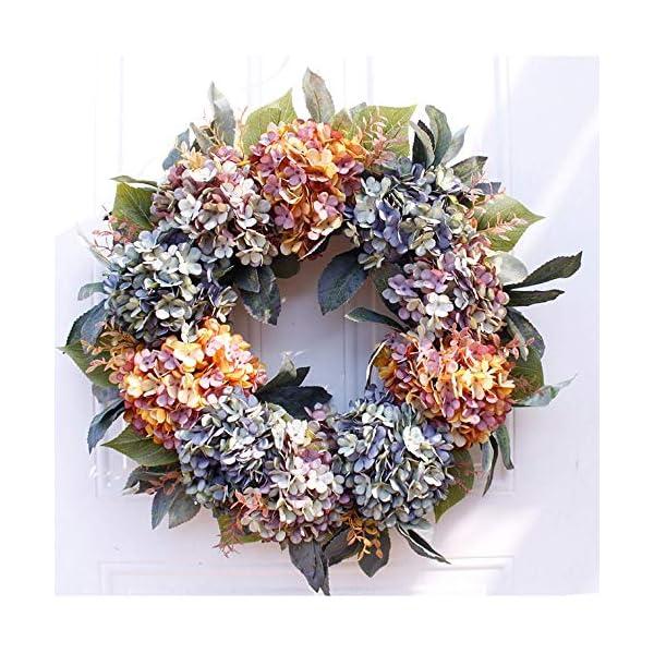 SSBH 56CM/22 Inch Autumn Hydrangea Wreath, Artificial Cloth Flower Natural Rattan Ring for Front Door Spring Wreaths Hanger Door Decor Farmhouse Rustic Grapevine Wreath Window Decoration