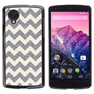 Caucho caso de Shell duro de la cubierta de accesorios de protección BY RAYDREAMMM - LG Google Nexus 5 D820 D821 - Pattern Silver Sparkle Stars