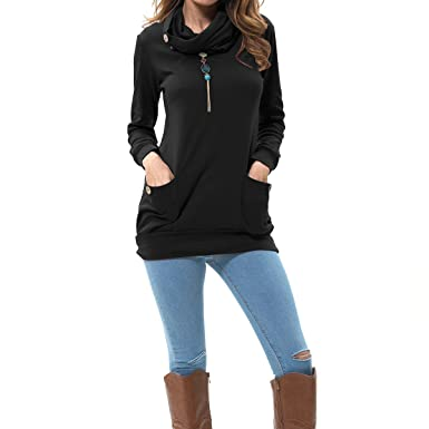 levaca Womens Long Sleeve Button Cowl Neck Casual Slim Tunic Tops ...