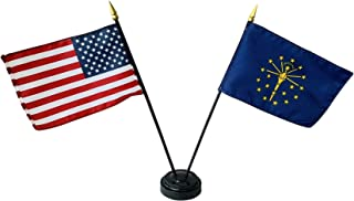 product image for Set of 3 4x6 E-Gloss Indiana Stick Flag w/U.S. Stick Flag & 2 Flag Plastic Table Base - Made in The USA