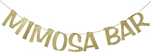 Mimosa Bar Sign Banner Gold Glitter Decorations for Bridal Shower Champagne Brunch Baby Shower Wedding Engagement Birthday Party Graduation Fiesta