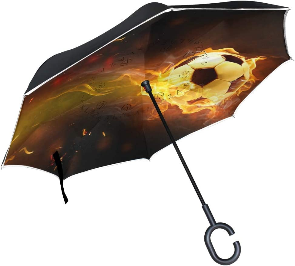 Paraguas al Aire Libre Juego de fútbol Flamy Fire Soccer Patio Umbrella Paraguas inverso a Prueba de Viento con Mango en Forma de C para Coche Caballo