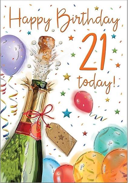 Tarjeta de felicitación de 21 cumpleaños - Hombre - Champán ...
