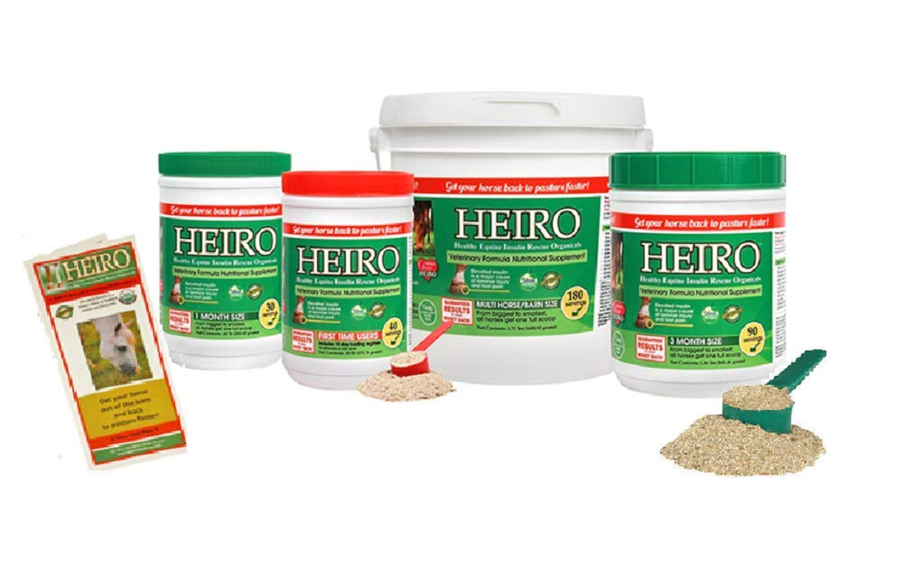 Heiro Healthy Equine Horse Insulin Resistant Rescue Organicals 30, 40, 60, 90 or 180 Day Supply and Free Informational Booklet (180 Day Supply) by Heiro