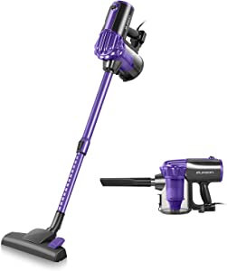 elezon Vacuum Cleaner Corded, 17KPa Powerful Suction Stick and Handheld 2 in 1 Bagless Lightweight Vacuum Cleaner with 2 HEPA Filters 23ft Cord, Purple, E600