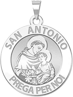 PicturesOnGold.com Saint Anthony Scalloped Round Religious Medal Color 2//3 Inch Size of Dime Solid 14K White Gold