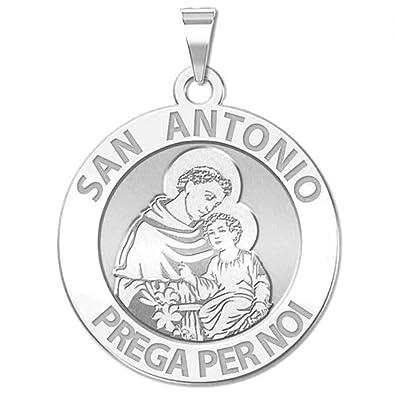 amazon saint anthony italian round religious medal 2 3 inch Ganoi Gallery saint anthony italian round religious medal 2 3 inch size of dime sterling