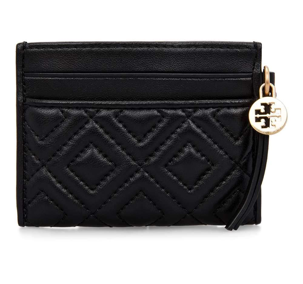 Tory Burch Women's Fleming Slim Card Case, Black, One Size