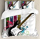 Guitar Duvet Cover Set Queen Size by Ambesonne, Bass Guitar on Colorful Vertical Stripes with Floral Natural Artistic Ornaments, Decorative 3 Piece Bedding Set with 2 Pillow Shams, Multicolor