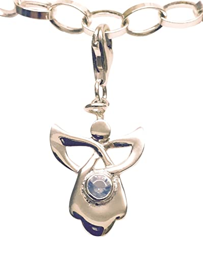 Sterling Silver Celtic Guardian Angel Birthstone Clip on Charm - July unO71m
