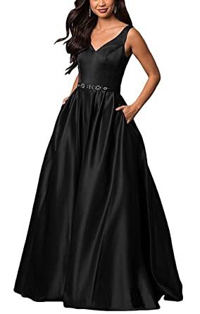 Prom Dresses V-Neck Satin Navy Blue Long Party Gowns With Belt Beaded A-