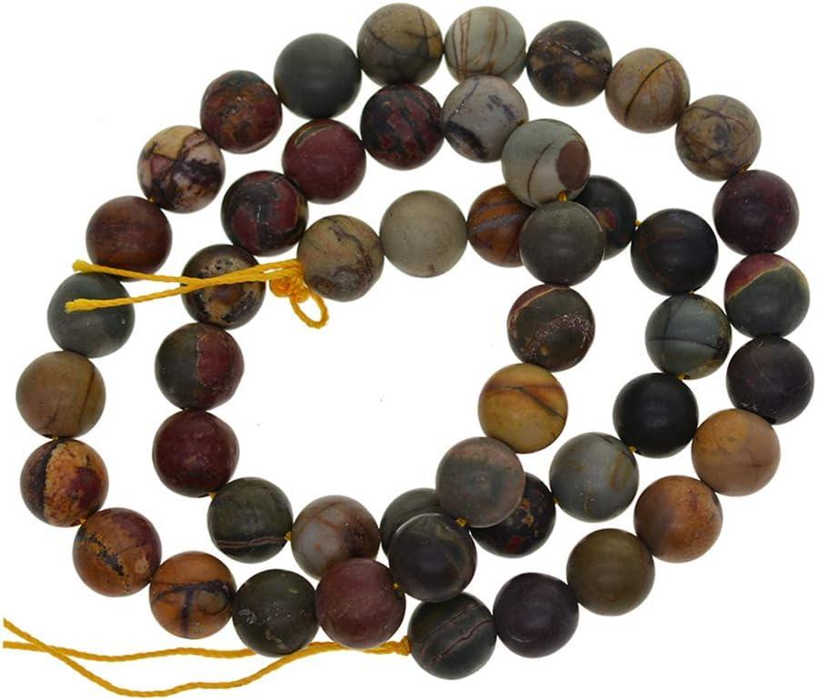 Generic 47pcs Fil Naturel Picasso Perles de Pierre en Vrac Rondes Fabrication de Bijoux 8mm