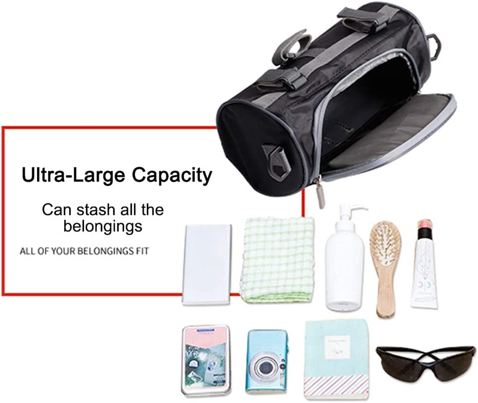Motorcycle Handlebar Bag,Ride-Large Capacity Touch Screen Small Bag Removable Shoulder Strap Waterproof-Motorcycle Front Handlebar Fork Storage Bag Container 2.5L