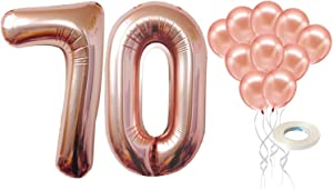 Rose Gold 70 Number Balloons – Large, Pack of 12 | 70th Bday Rose Gold Balloons Party Decorations Supplies Kit | foil Mylar Number 7 and 0 and Latex Balloon Décor | Seventy Year Old