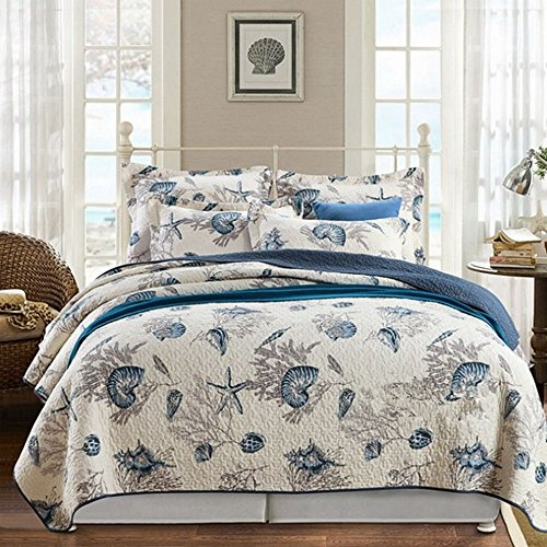 blue and white queen quilt - 9