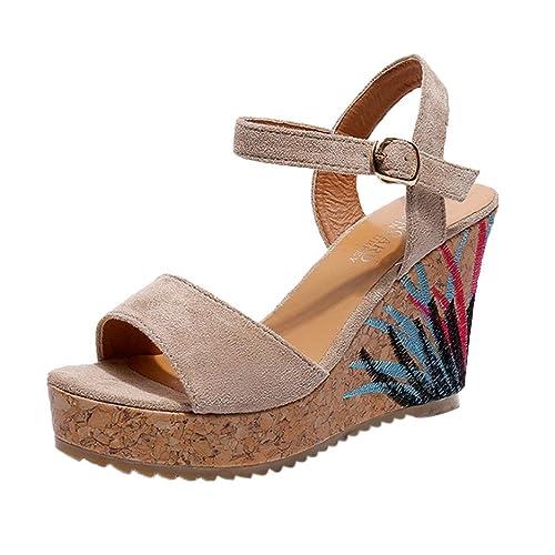 a7e4b76c051 Logobeing Sandalias Mujeres Moda Verano Plano Tobillo Correa Paja  Plataforma Cuñas Zapatos Sandalias Tacones Altos Zapatos de Playa Romanas  Chanclas  ...
