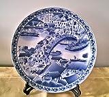 Chinese Blue & White Porcelain Plate - the Bridge Scene of