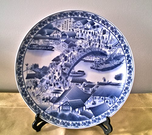 Chinese Blue & White Porcelain Plate - the Bridge Scene of