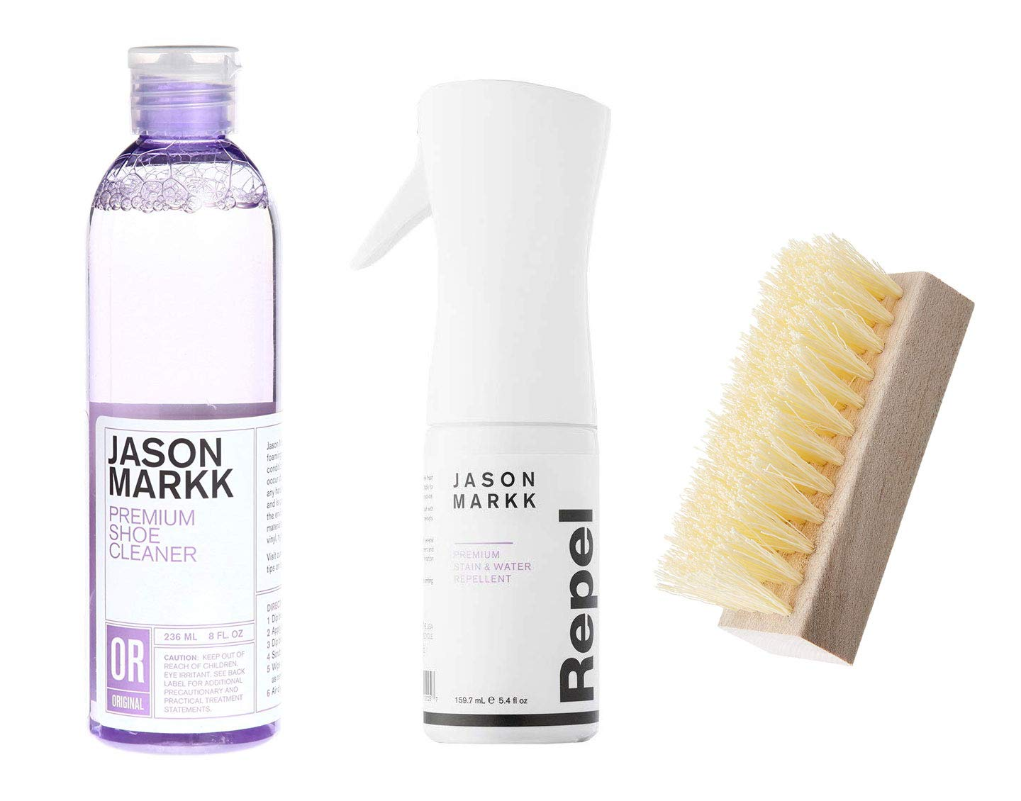 Jason Markk Shoe Cleaning and Repellent Kits (8oz Solution + Repel + Brush)