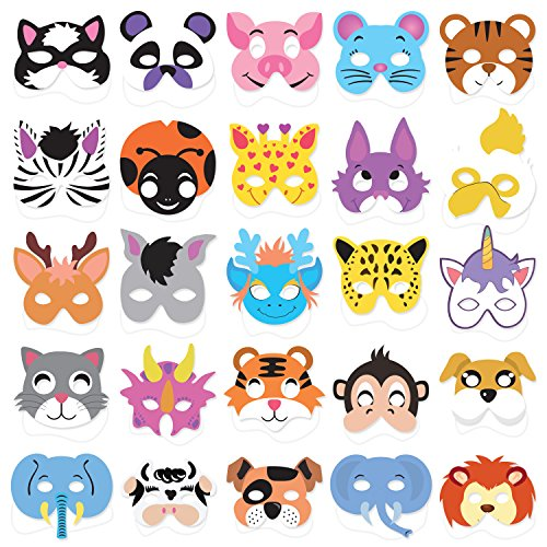 25PCs Animal Masks for Kids Birthday Jungle Safari Zoo theme Party Supplies Dress - up Party Kit Favors -