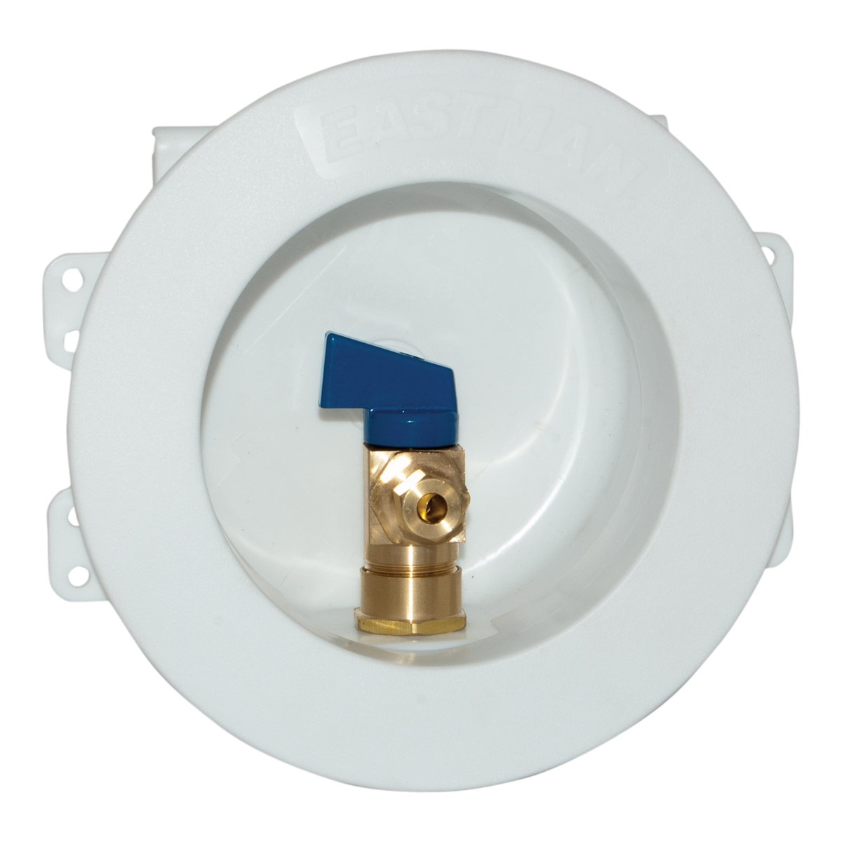 Eastman 60239 CPVC Round Mini Ice Maker Outlet Box, 1/2-inch CPVC Connection with Installed 1/4-Turn Ball Valve, White