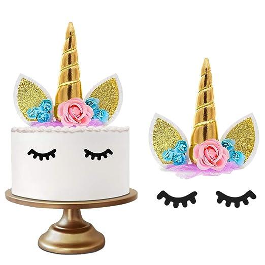 GOEU Decoración de Unicornio para Tartas de Cumpleaños-Tarta de Unicornio y Cuerno de Oro Unicornio 3D, Dos Pestañas y 7 Flores para Fiesta,Cumpleaños ...