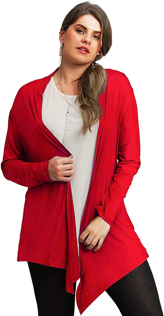BELAROI Women Plus Size Open Front Lightweight Soft Drape Light Long Cardigan
