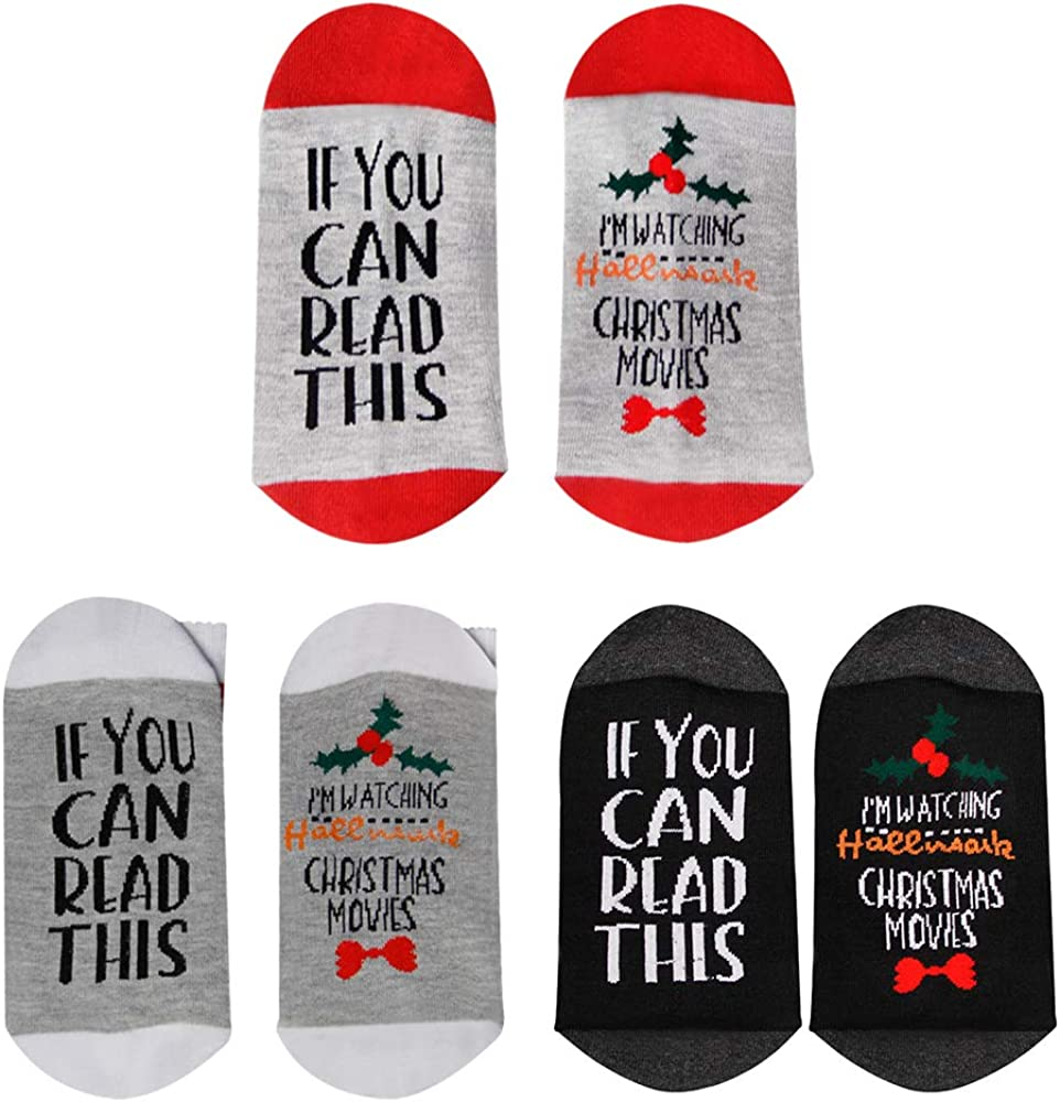 Amazon Com Funny Socks If You Can Read This I M Watching Christmas Movies 3 Pairs Clothing