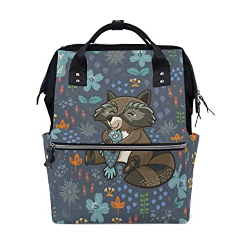 SHANGLONG Women Casual Backpack Funny Little Raccoon Resting On The Meadow  Multipurpose Book Bag Lightweight Travel 696691a7a9