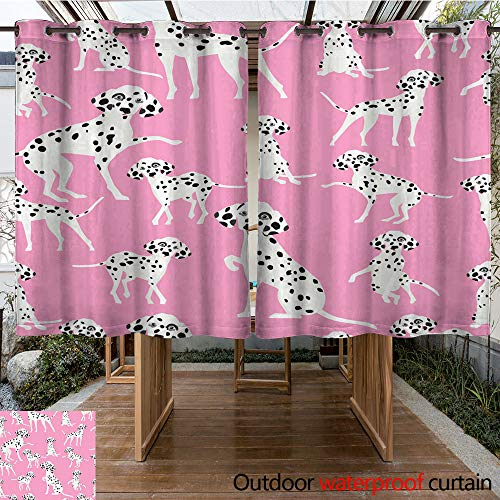 Dalmatian Embroidery (WinfreyDecor Outdoor Ultraviolet Protective Curtains Seamless Dalmatian Dog Pattern Background W63 x L72)