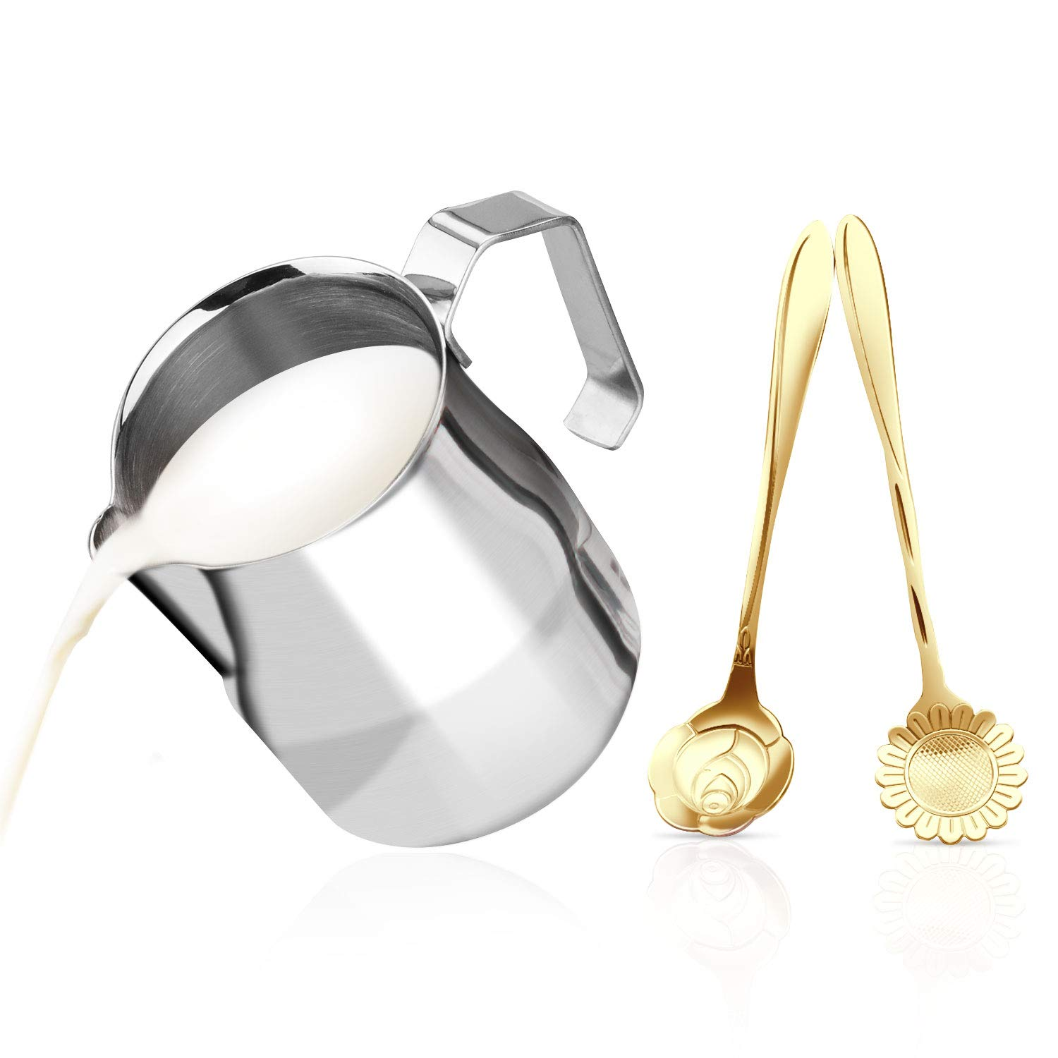 Milk Frothing Pitcher Jug - Stainless Steel Italian Style Professional Commercial Coffee Tools Cup with Dessert Coffee Spoons Set - Suitable for Espresso, Latte Art and Frothing Milk (12oz/350ML)