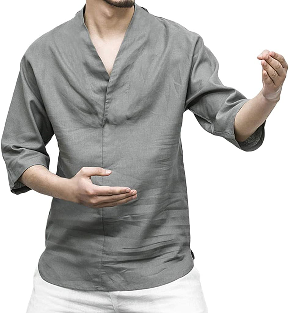 Letdown_Men tops Men's Cotton Linen Shirts, Patchwork Seven-Minute Sleeve Solid Color Loose V Neck Blouse T Shirt