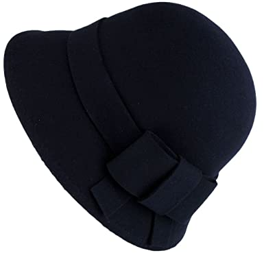 Navy Blue Cloche Hat with Wool Felt Bow  Amazon.co.uk  Clothing aa177c8e293
