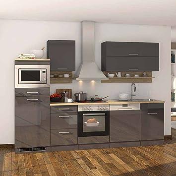 Pharao24 Küchenzeile in Grau Hochglanz Eiche Sonoma mit ...