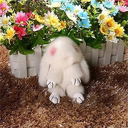 Gosweet White Genuine Mink Fur Copenhagen Rabbit Keychain Luxury Toy Cute  Bunny Plush Bag Accessories Purse 5796b7f0b