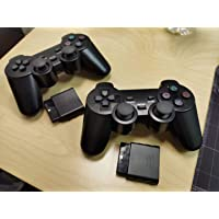 PS2 Wireless Controller 2.4G, Double Shock Dual Vibration Twin Shock Gamepad for Sony Playstation 2 (2 Pack Black)