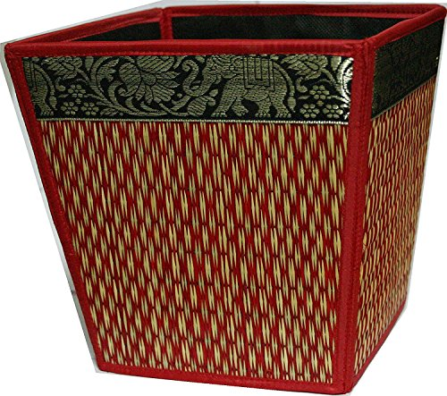 M$M shop Handmade Thai Woven Straw Reed Wicker Square Waste Basket with Silk Elephant Design. (Red)