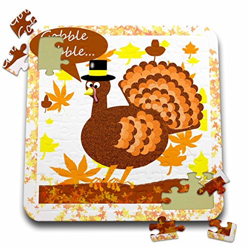 Dawn Gagnon Photography Holiday Designs - Thanksgiving greeting with Turkey - 10x10 Inch Puzzle (Greeting Turkey)