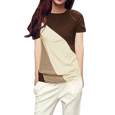 Allegra K Femmes Couleur Col Rond Manches Courtes T-Shirts Bloqués