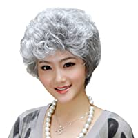 GOOACTION Granny Short Curly Silver Gray White Fluffy Wig for Old Middle Aged and Elderly Women Daily Use Wigs Halloween Cosplay Synthetic Hair Wigs