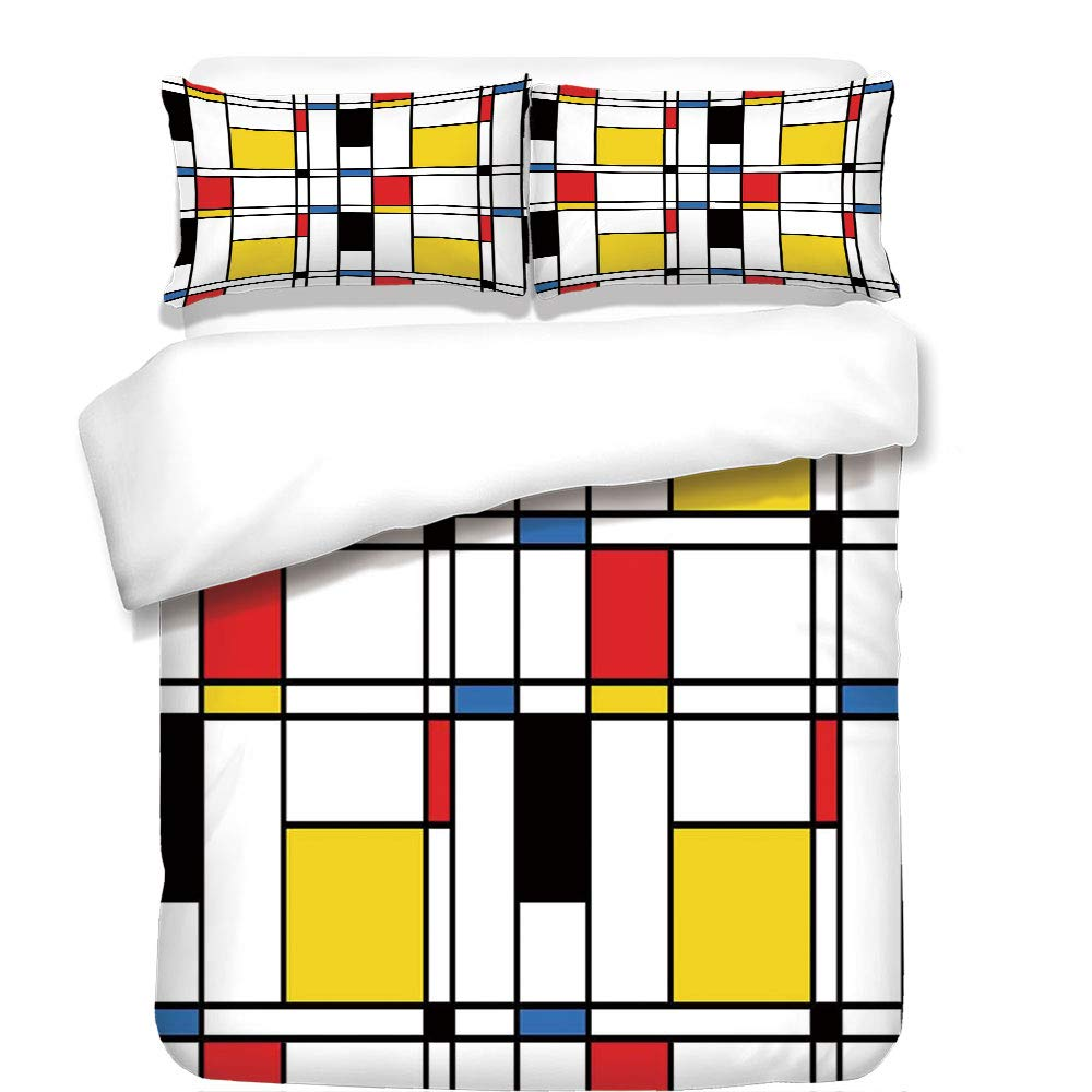 iPrint 3Pcs Duvet Cover Set,Abstract Home Decor,Geometric Colorful Pattern Crossover Decorative Rectangle Frame Window Art Decorative,Best Bedding Gifts for Family/Friends
