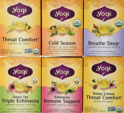 Yogi Tea Cold Weather Season Tea 6 Flavor Variety Pack (Green Yogi Caffeine Tea Free)