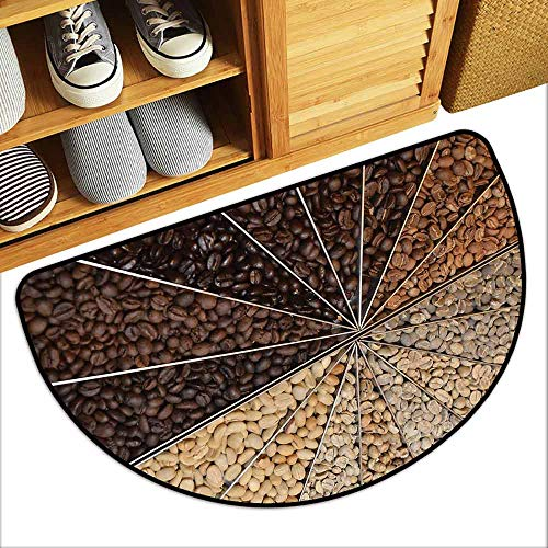 DILITECK Semicircular Door mat Coffee Many Varieties of Roasted Beans with Darkening Color Scheme Strong Taste All Season General W31 xL20 Beige Brown Pale Brown