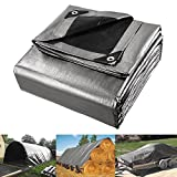 40x50ft Silver Upper + Black Bottom Waterproof Heavy Duty Reinforced Poly Tarp Cover for Car Boat Trailer Garden Funiture Haystack Machine Lumber Camping Ground Sheet