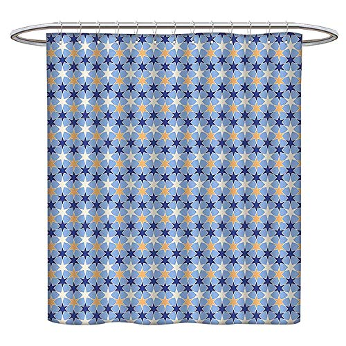 Jiahonghome Waterproof Mold Shower Curtain Chain Stars Pattern Traditional Colors Galaxy Cosmic Tile Dark Blue Light Blue Apricot Non Toxic Eco-Friendly No Chemical Odor W 48 x L 72 INCH ()
