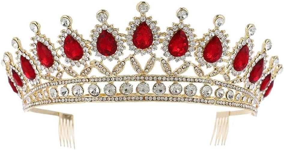 Couronne Strass Rouge Avec Peigne Grande Couronne Diademe De Mariee Rouge Amazon Fr Bijoux